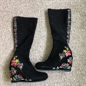 Beverly Feldman Embroidered Suede Wedge Boots